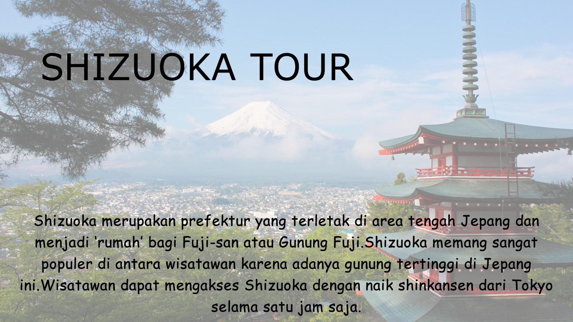 Shizuoka merupakan prefektur yang terletak di area tengah Jepang dan menjadi 'rumah' bagi Fuji-san atau Gunung Fuji.Shizuoka memang sangat populer di antara wisatawan karena adanya gunung tertinggi di Jepang ini.Wisatawan dapat mengakses Shizuoka dengan naik shinkansen dari Tokyo selama satu jam saja.